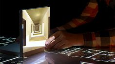 Tangible Tabletop by Kollision. Tangible Tabletop - is a rear projected table setup made for examining design potentials for combining tabletop interaction and front projected projection onto tracked objects on the table surface. Interactive Exhibition, Interactive Walls, Man Made Environment, 3d Projection Mapping, Interaktives Design, Project Table, Danish Design, 3 D, Tabletop