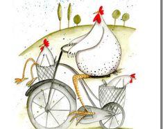 Huhn-Karte - lustige Grußkarte - Tag! -Leer