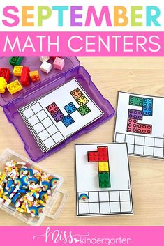 The first few months of kindergarten in math are all about identifying numbers and one to one correspondence. Use these lego mats to build and count numbers to 10. Students will use the ten frames and manipulatives to create the number shown. These are a great addition to your math centers or small groups! Easy to download, print and laminate. Beginning Of Kindergarten, Miss Kindergarten, Kindergarten Math Activities, Math Literacy, Literacy Skills, Literacy Centers, Number Sense Activities, Hands On Activities, September Activities