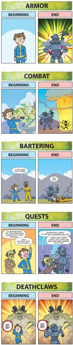 Fallout: Beginning Vs. End | gaming meme funny humor | armor, combat, bartering, quests, deathclaws | #gamingMeme