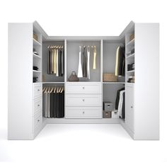 Versatile by Bestar Corner Closet Storage Kit-The efficiency of the Versatile collection by Bestar allows you to enjoy your living space. Maximize your space with each unit's two fixed and four adjustable shelves while the un Corner Closet, Front Closet, Reach In Closet, Closet Rod, Closet Storage, Storage Organization, Closet Space, Closet Shelving, Storage Shelving