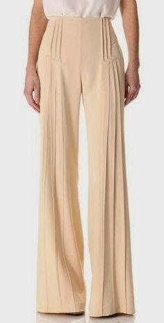 Zac Posen Pintuck Wide Leg Pants in Beige Business Casual Fashion Details, Look Fashion, Fashion Design, Zac Posen, Looks Style, Style Me, 1940s Style, Inspiration Mode, Mode Vintage