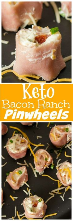 Bacon Ranch Pinwheels are the perfect Keto friendly lunch or snack. Easy to make for meal prepping ahead of time while staying with your Keto diet plan. Using salami ham or turkey you can change up the flavors of these tasty keto pinwheels. Ketogenic Recipes, Low Carb Recipes, Healthy Recipes, Juice Recipes, Clean Recipes, Ketogenic Diet, Delicious Recipes, Cena Keto, Paleo
