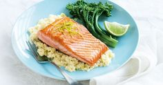 Revamp your mash with this cauliflower, bean and leek combo that tastes great with salmon. Pan Fry Salmon Recipe, Pan Fried Salmon, Salmon Recipes, Seafood Recipes, Dinner Recipes, Low Carb Recipes, Healthy Recipes, Healthy Meals, Foods With Gluten