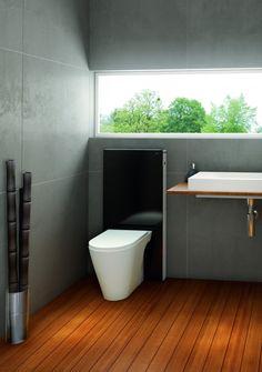 Modern Minimalist Bathroom Toilets Modular Design, Monolith by Geberit - Home Design Inspiration Wet Room Bathroom, Upstairs Bathrooms, Bathroom Toilets, Bathroom Fixtures, Plumbing Fixtures, Bath Room, Minimalist Bathroom, Modern Minimalist, Minimalist Design