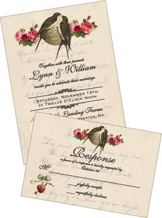 Love Birds Digital DIY Wedding Invitations, Custom Printable, Includes RSVP, Shabby Chic Wedding, Vintage, Swallows and Nest, Wedding Suite