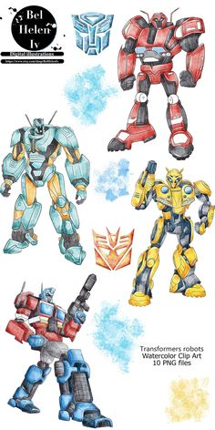 Robots Characters, Transformers Characters, Watercolor Mermaid, Watercolor Animals, Robot Png, Robot Clipart, Tropical Animals, Party Invitations Kids, Cute Dragons