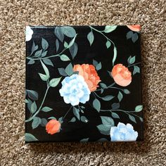 Canvas Painting Designs, Acrylic Painting Inspiration, Acrylic Painting Flowers, Simple Acrylic Paintings, Acrylic Painting Canvas, Black Canvas Art, Black Canvas Paintings, Mini Canvas Art, Black Background Painting