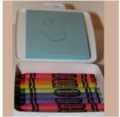 Use a travel soap case for crayons and post it's for car rides, restaurants, et