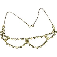 Early Art Deco Sterling & Paste Festoon Necklace circa 1920