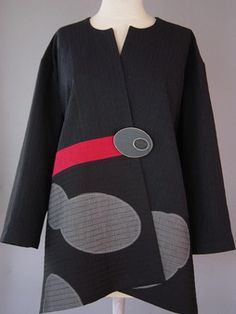 Long Round Neck Kimono Jacket with Boxed Stitched Lines