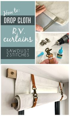Are you renovating a toy hauler or R. and want to update it and add character on a budget? DIY dropcloth curtains are just the ticket! Rideaux Camping-car, Cortina Boho, Rv Curtains, Caravan Curtains, Roll Up Curtains, Camping Diy, Camping Kitchen, Camping Cooking, Camping Outdoors