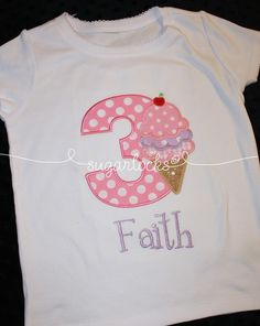 Custom Ice Cream Cone Birthday Number Shirt by sugarlocks on Etsy, $24.99