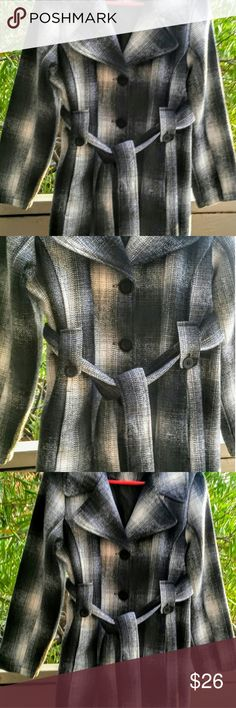 """Tweed Charcoal Gray Black White Plaid Peacoat Med Oleg Cassini Tweed Charcoal Gray Black and White Belted Peacoat Jacket Size Medium. The peacoat is in Gift Giving condition. There are no tears, rips or stains. All measurements are approximate  The coat was laid out and buttoned to measure. Front length from top to bottom of hem: 30"""" Chest : pit to pit: 20"""" Inner Armseam 18"""" Hips 21' Fabric Shell: 30% wool, 55% polyester, 15% nylon. Lining and Filler: 100% polyester Oleg Cassini Jackets…"""