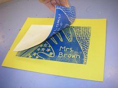 styrofoam plate printmaking 5th grade Mrs. Brown's art class positive/negative space; patterning, printmaking