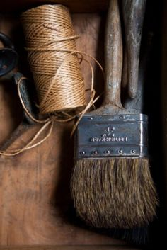 Jute twine and paintbrushes ... two of the most useful items in my workspace ... :)