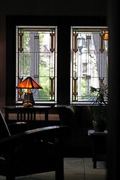 Craftsman - Prairie Style Light Screens - traditional - living room - chicago - by Morava Glass Studio Craftsman Windows, Craftsman Living Rooms, Craftsman Interior, Craftsman Style Homes, Craftsman Bungalows, Craftsman Decor, Art Nouveau, Art Deco, Bauhaus