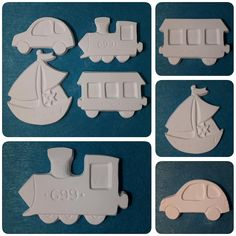 """Petrece-ți timpul cu copiii tăi pictând noul set de figurine """"Travel""""! Îl găsești pe site-ul nostru în categoria """"Obiecte pentru decorat"""" (Link în bio). #CraftsCorner #craftscornershop #setfigurine #figurine #mijloacedetransport #calatorii #tren #vagon #masina #barca #vapor #travel #depictat #activitaticucopiii #picteazacucopiii #prafceramic #ceramicpowder #polverediceramica Ice Tray, Cookie Cutters"""