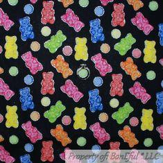 BonEful Fabric FQ Cotton Quilt VTG S Camp Orange Paddington Bear Paw Cabin Movie
