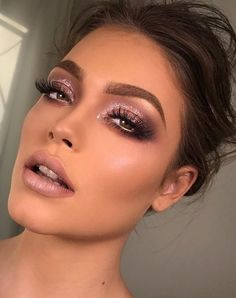 Party makeup with a glitter smokey eye, makeup inspiration
