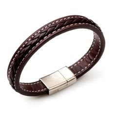 4e239f5885c Mens Brown Leather and Braided Bracelet