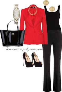 """Coral & Black Chic"" by lisa-eurica ❤ liked on Polyvore 