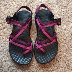 100235dfb2ab Chacos Double strapped Chacos in purple and pink. Barely worn