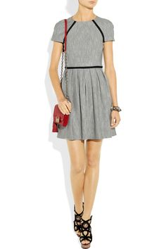 Tibi|Pleated herringbone dress