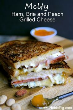 Melty Ham, Brie and Peach Grilled Cheese from NoblePig.com