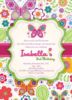 Butterfly Invitation Butterflies And Flowers By Artisacreations 1200 1st Birthday Baby Girl
