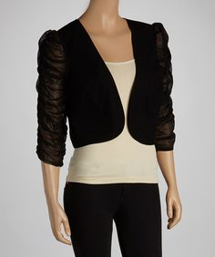 Take a look at this eci New York Black Ruffle-Sleeve Blazer on zulily today!