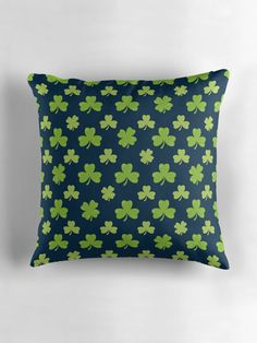 """""""Clover Leaves Pattern"""" Throw Pillows by ZaryaKiqo 