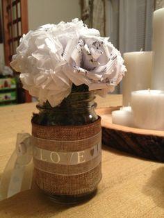 DIY Mason jar decor with handmade paper flowers! Rustic elegance :)