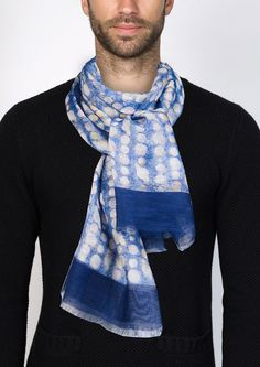 Blue scarf with hand-drawn pattern by John Malkovich printed on  cotton-linen blend.  Dimensions : about 81 x 25 inch (205 x 63 cm)  Body: 55% cotton, 45% linen  All taxes and import duties included.