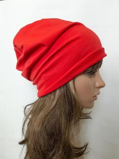 Cotton beanie women spring slouchy beanie jersey red by Jousilook