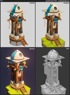 ArtStation - dofus fan art, eunkyung LEE The observatory Environment Concept Art, Environment Design, Game Environment, Blender 3d, Cartoon House, Hand Painted Textures, Game Props, Low Poly Models, 3d Fantasy