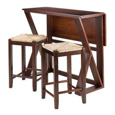 "Winsome Wood 94376 Harrington 3-Pc Drop Leaf High Table, 2-24"" Rush Seat Stools"
