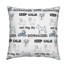 Catalan Throw Pillow featuring KEEP CALM hug my schnauzer  by forestwooddesigns   Roostery Home Decor