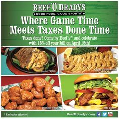 Pinned April off the tab Monday at Beef OBradys restaurants coupon via The Coupons App Restaurant Deals, Restaurant Coupons, Free Printable Coupons, Free Printables, Boneless Wings, Fast Food Places, Books A Million, Fast Food Chains, Grilled Shrimp
