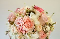 Pink and Blush Tone Rose Bridal Bouquet by Living Fresh on http://WedOverHeels.com