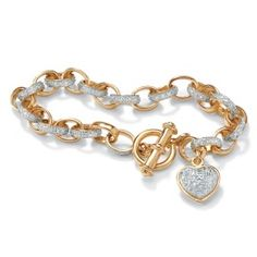 """Round Diamond 18k Yellow Gold-Plated Oval-Link Heart Charm Bracelet 7 1/4"""" at PalmBeach"""
