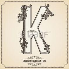 Calligraphic Design Font con tipogr fico Elementos florales para sus obras de arte Agradable para de Foto de archivo