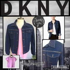 """✔FINAL✔{DKNY JEANS}- BNWOT-dark denim BLING jacket Dark denim with pink bling!! By DKNY JEANS. Features pink rhinestones all over front collar as well as pockets n back. Says DKNY JEANS on top pocket n back lower. WOMANS large. Bust : 19"""" LF and buttoned.  L: is 25"""" . Brand new tags taken off. GET YOUR BLING ON!!  DKNY Jackets & Coats Jean Jackets"""