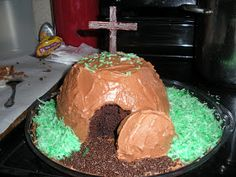This is the resurrection cake I made for Sunday lunch. I want Jake to know the real reason for the season. It was SO fun to do! I used a box...