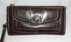 New  Brown Leather(?) Organizer Wristlet Wallet