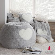 Spread love to your sleeping space with this ultrasoft furry Pillow Cover, featuring a sweet heart. Plus, for every St. Jude Heart Pillow Cover you purchase, PBteen will donate of the purchase price directly to St. Jude Children's Res Fur Bean Bag, Bean Bag Chair, Round Pillow, Pottery Barn Teen, Faux Fur Throw, Pbteen, Velvet Pillows, Instagram Shop, Kids Furniture