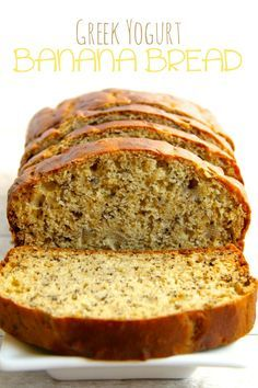 Greek Yogurt Banana Bread - So Soft And Tender That You'd Never Be Able To Tell It's Made Without Butter Or Oil Delicious Banana Bread Recipe With Greek Yogurt, Greek Yogurt Recipes, Easy Banana Bread, Banana Bread Recipes, Banana And Yogurt Recipes, Banana Bread Healthy Yogurt, Applesauce Banana Bread, Recipes With Plain Yogurt, Low Sugar Banana Bread