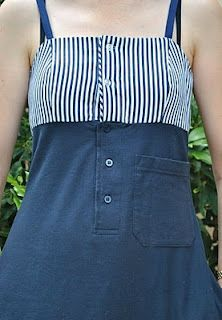 Handmade by Carolyn: New life for an old polo shirt--tutorial on turning a man's discarded polo into a cute summer dress!