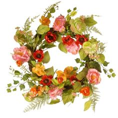 Celebrate Spring with the National Tree Company Spring Artificial Wreath. With a vast array of assorted blooms, leafy stems and fern fronds, this pretty wreath creates a circle of colorful sunshine that will instantly brighten your decor. Boxwood Wreath, Hydrangea Wreath, Spring Branch, Spring Garden, Colorful Decor, Spring Flowers, Fabric Flowers, Art Flowers, Tree Company