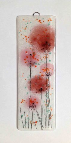 EH 249 Pink coral salmon fused glass flower by FiredCreationsGlass
